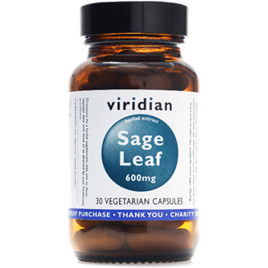 Viridian Sage Leaf Extract 600mg Veg Caps