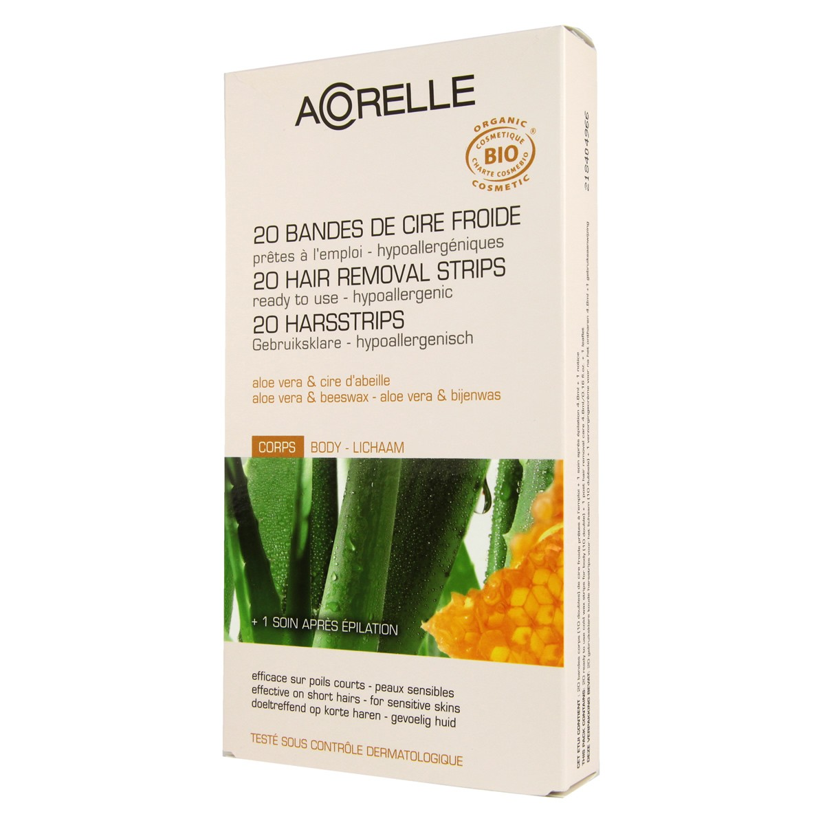 Acorelle Skin Care Body Hair Ready to Use Strips - Aloe Vera & Beeswax