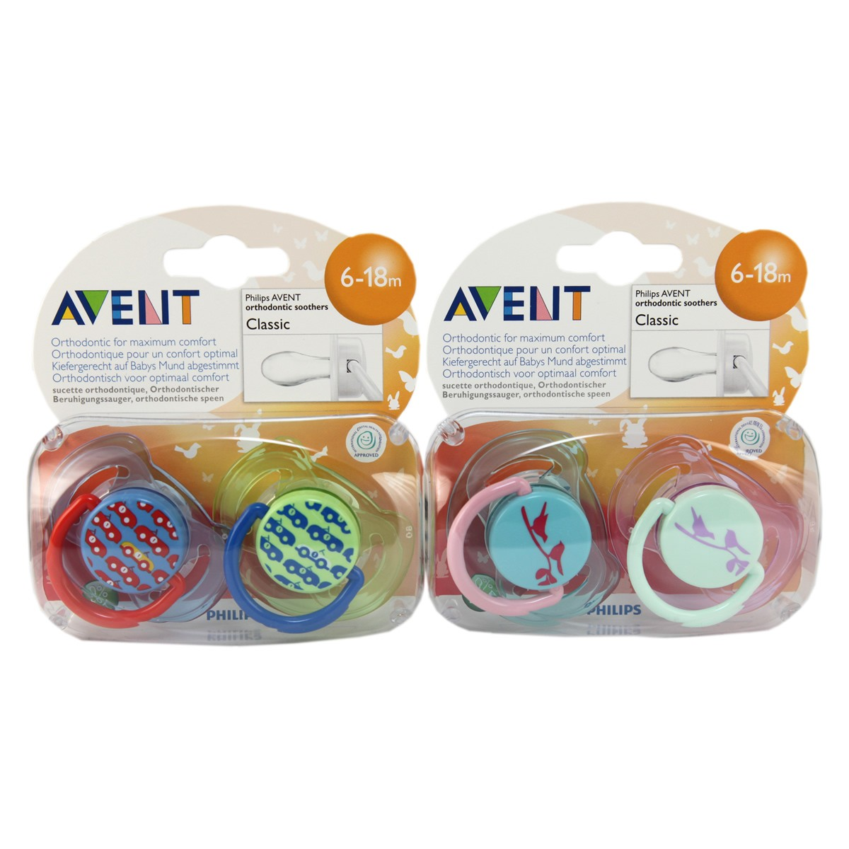Avent Classic Silicone Soother Fashion 6-18m