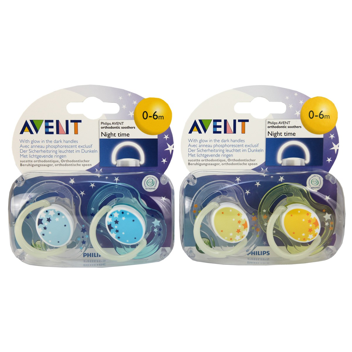 Avent Silicone Night Time Soothers 0-6m