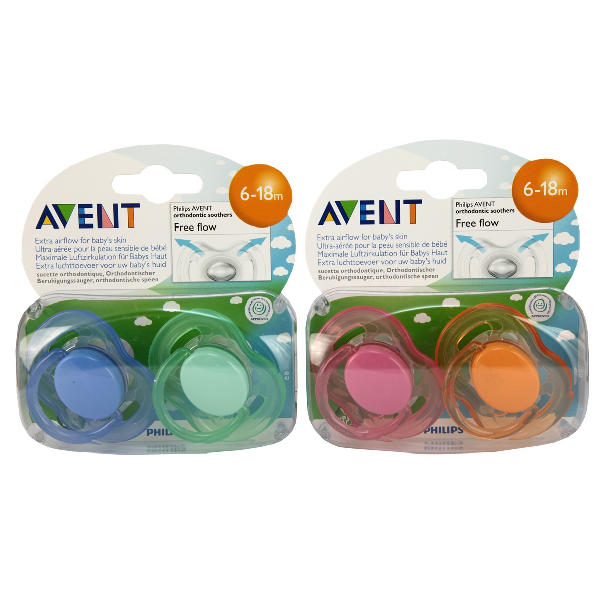 Avent Silicone Soother - Free Flow 6-18m