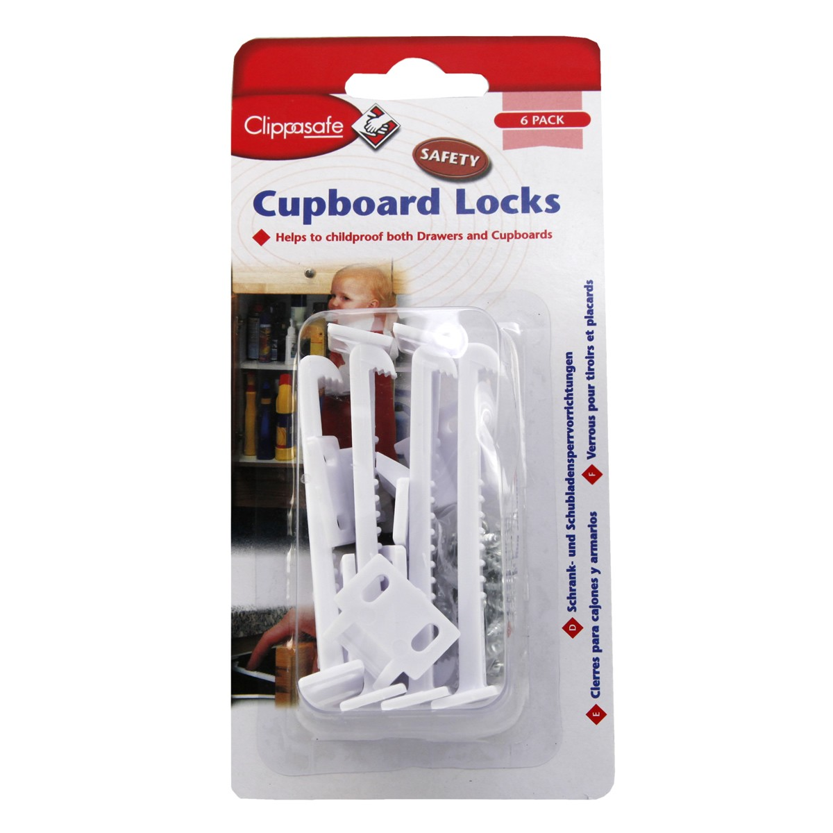 Clippasafe Cupboard Locks - 6 pack