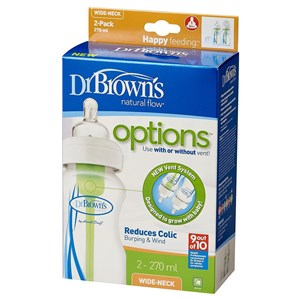 Dr Brown's Feeding Bottle 270ml Twin Pack - Wide Neck Bottles