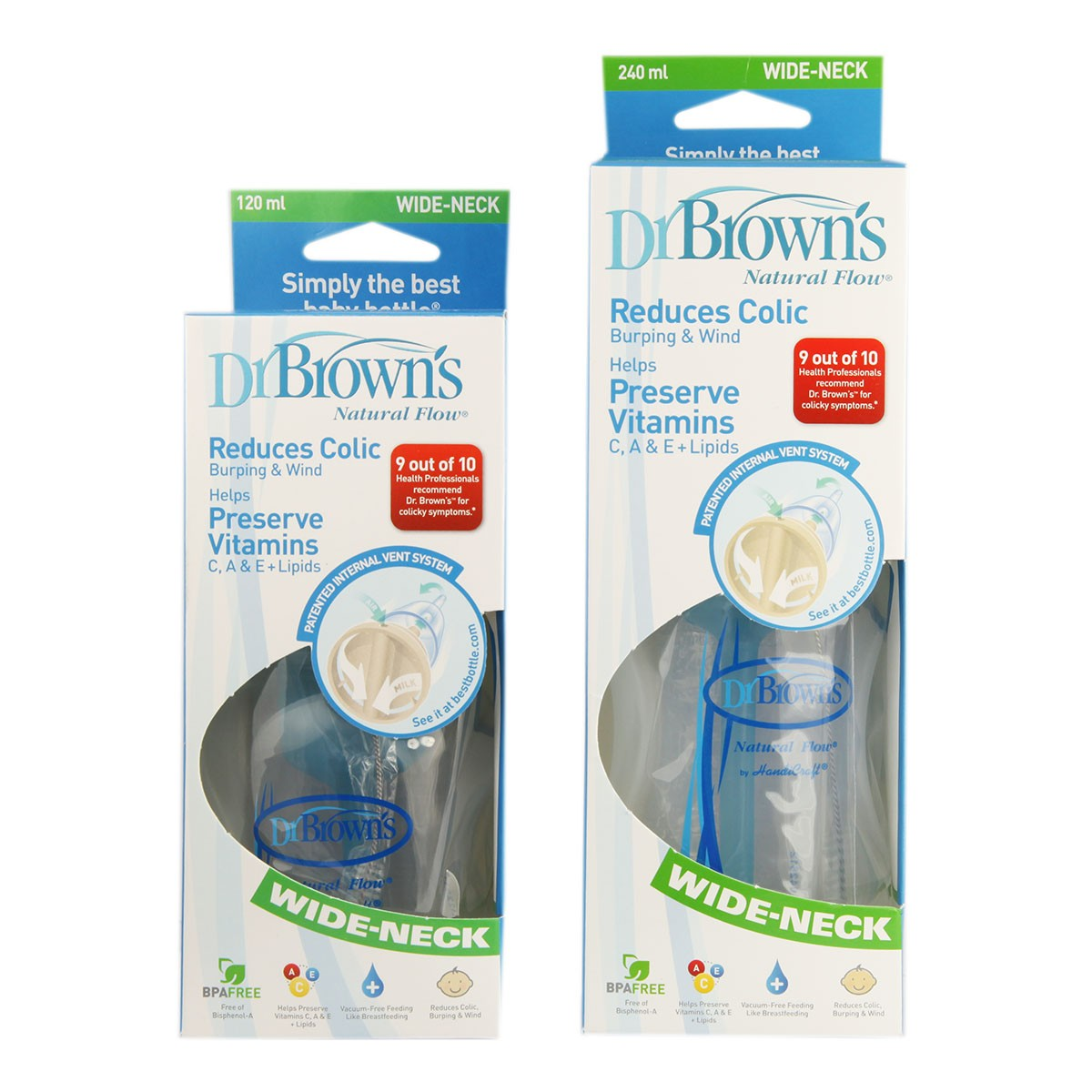 Dr Brown's Natural Flow Wide Neck Baby Bottle - BPA free
