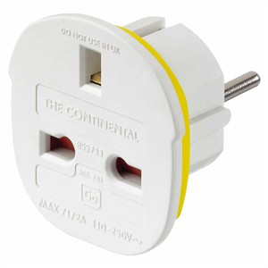 Go Travel Continental Adaptor (UK - Europe)