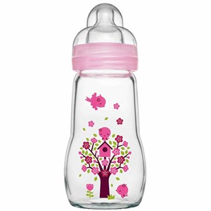 MAM Feel Good Glass Bottle 260ml (2 Months) Boys Colours