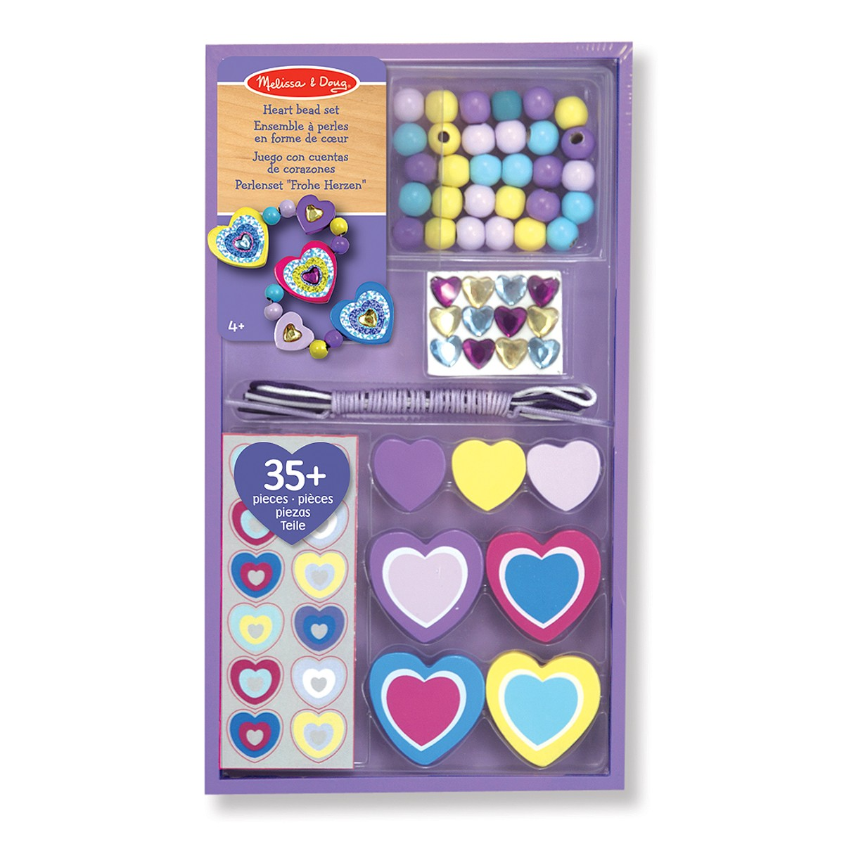 Melissa & Doug Decorate-Your-Own Wooden Heart Bead Set