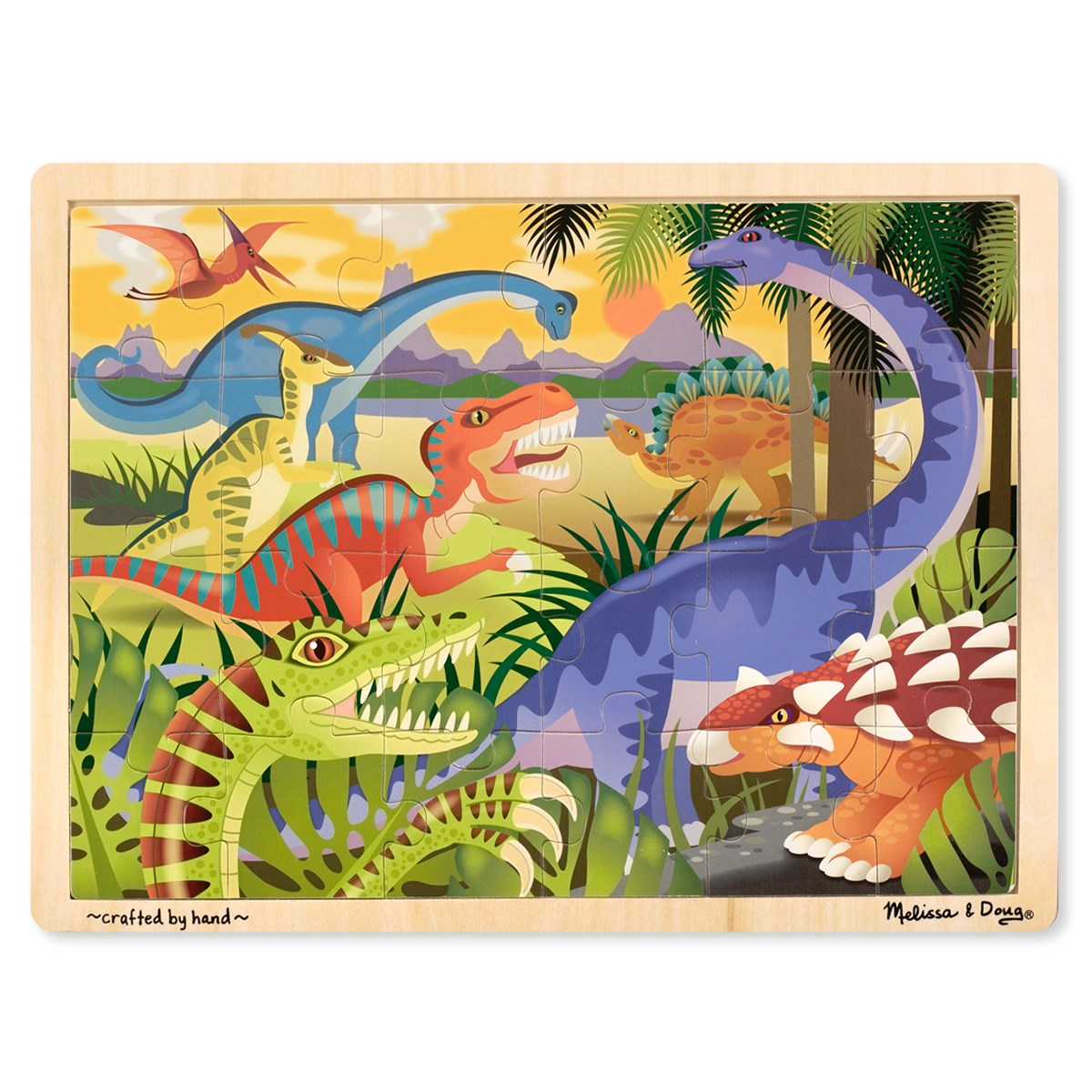 Melissa & Doug Dinosaurs Wooden Jigsaw Puzzle - 24 pieces