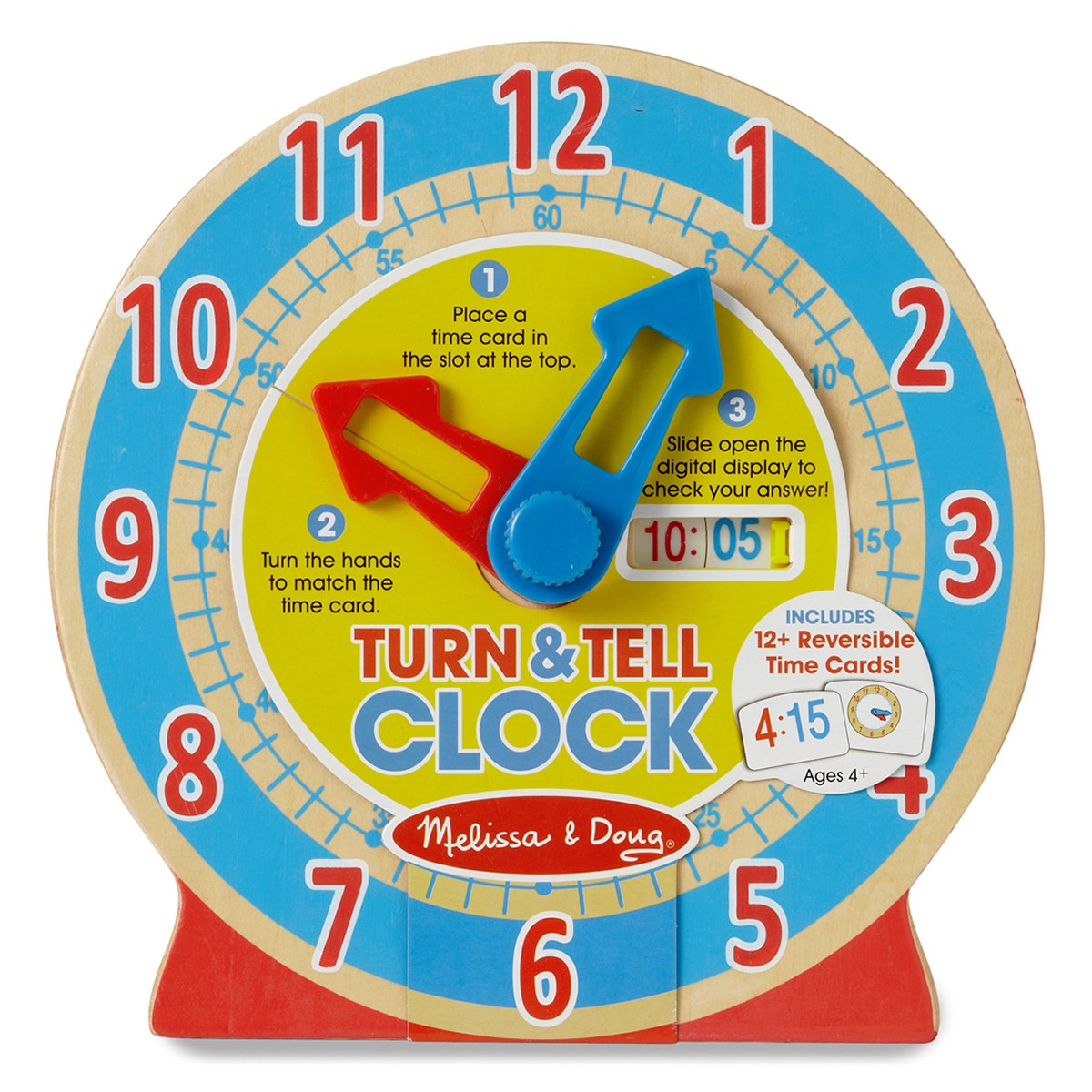 Melissa & Doug Wooden Turn & Tell Clock