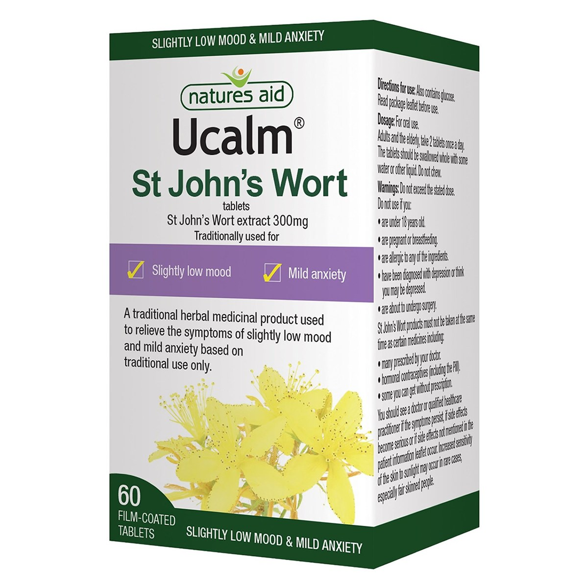 Natures Aid UCalm 300mg (St. John's Wort) Tablets