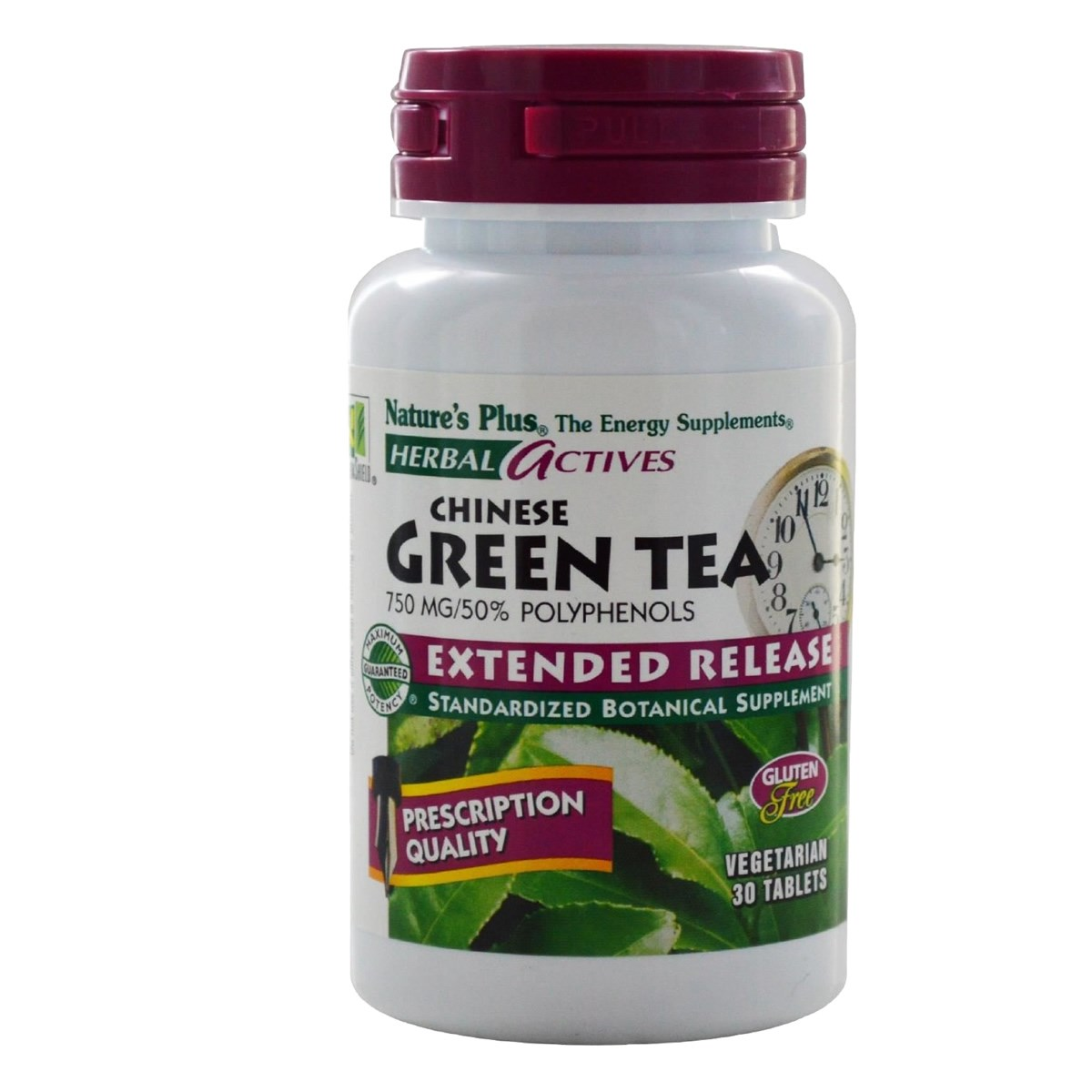 Natures Plus Herbal Actives Chinese Green Tea 750 mg Extended Release Tablets
