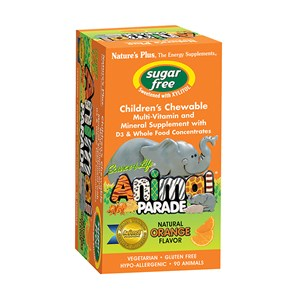 Natures Plus Source of Life Animal Parade Sugar Free Multi with D3  90 Tablets Orange