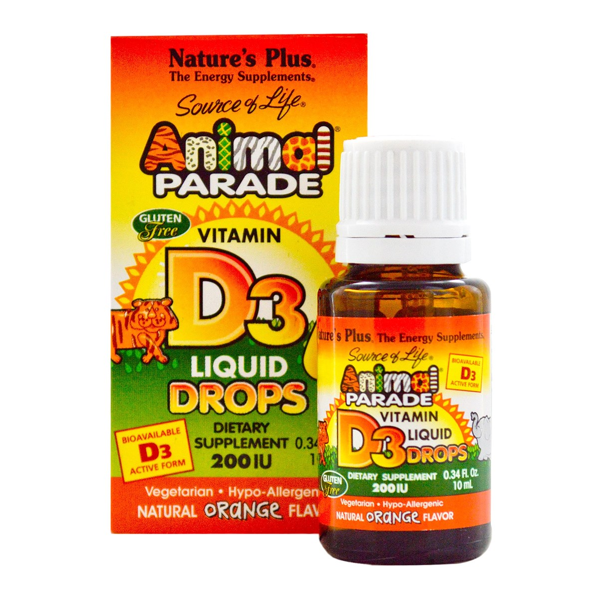 Natures Plus Source of Life Animal Parade Vitamin D3 200 IU Liquid Drops - Orange Flavour