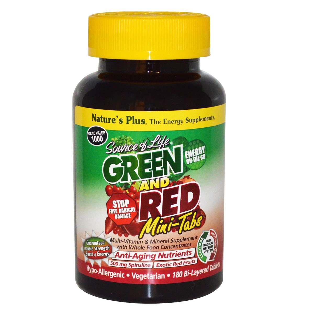 Natures Plus Source of Life GREEN AND RED Bi-Layered Mini-Tabs