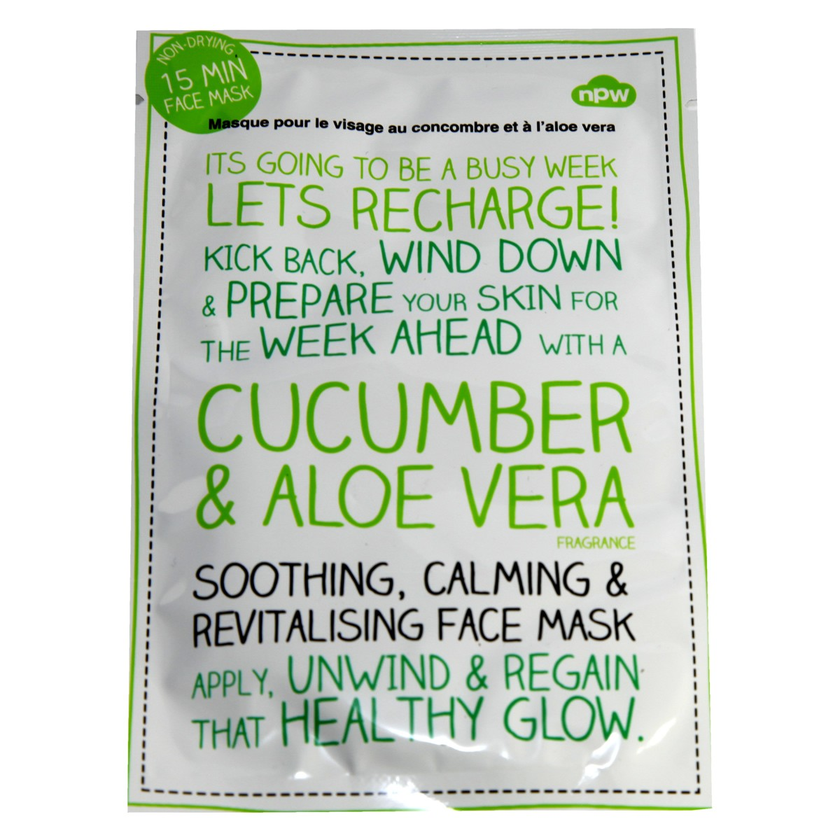 NPW Soothing, Calming & Revitalising Face Mask with Cucumber & Aloe Vera