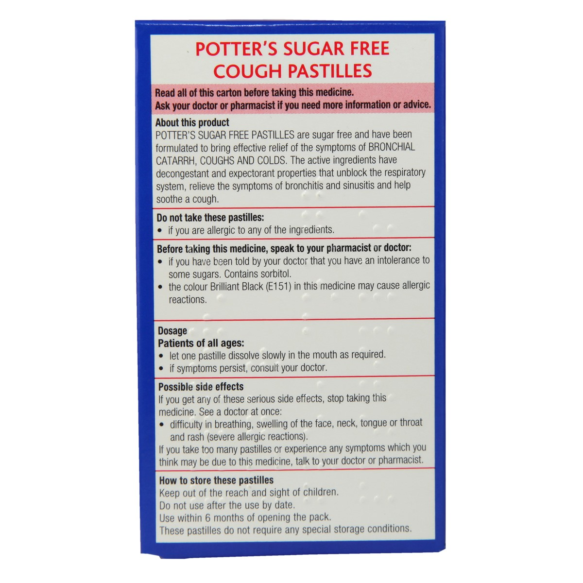Potter`s Sugar Free Cough Pastilles