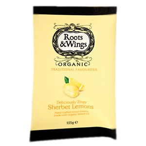 Roots & Wings Organic Sweets - Deliciously Zingy Sherbet Lemons