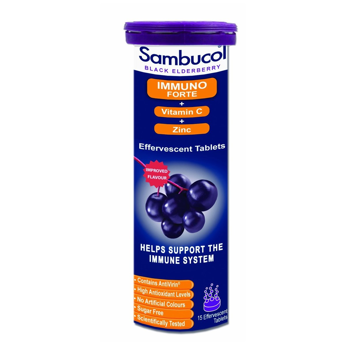 Sambucol Black Elderberry Extract Immuno Forte + Vitamin C + Zinc Effervescent Tablets