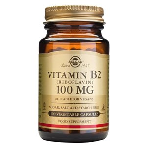 Solgar Vitamin B2 (Riboflavin) 100 mg Vegetable Capsules
