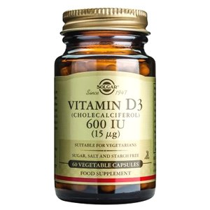 Solgar Vitamin D3 600 IU (15 µg) Vegetable Capsules