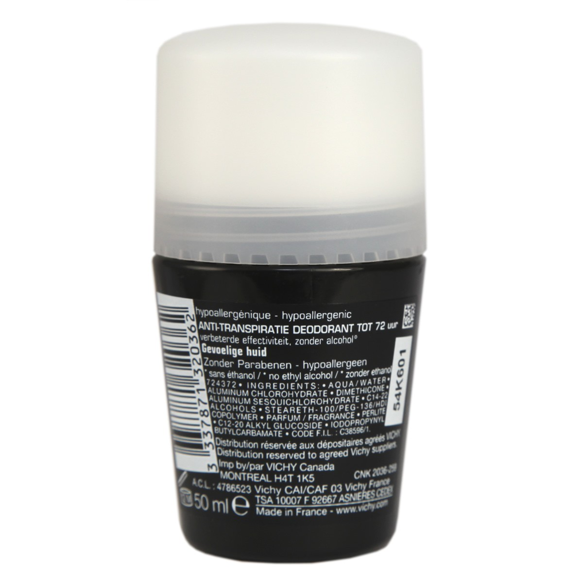 Vichy Homme Deodorant Roll-on 72Hr