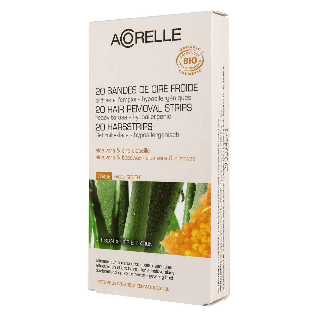 Acorelle Skin Care Facial Hair Ready to Use Strips - Aloe Vera & Beeswax