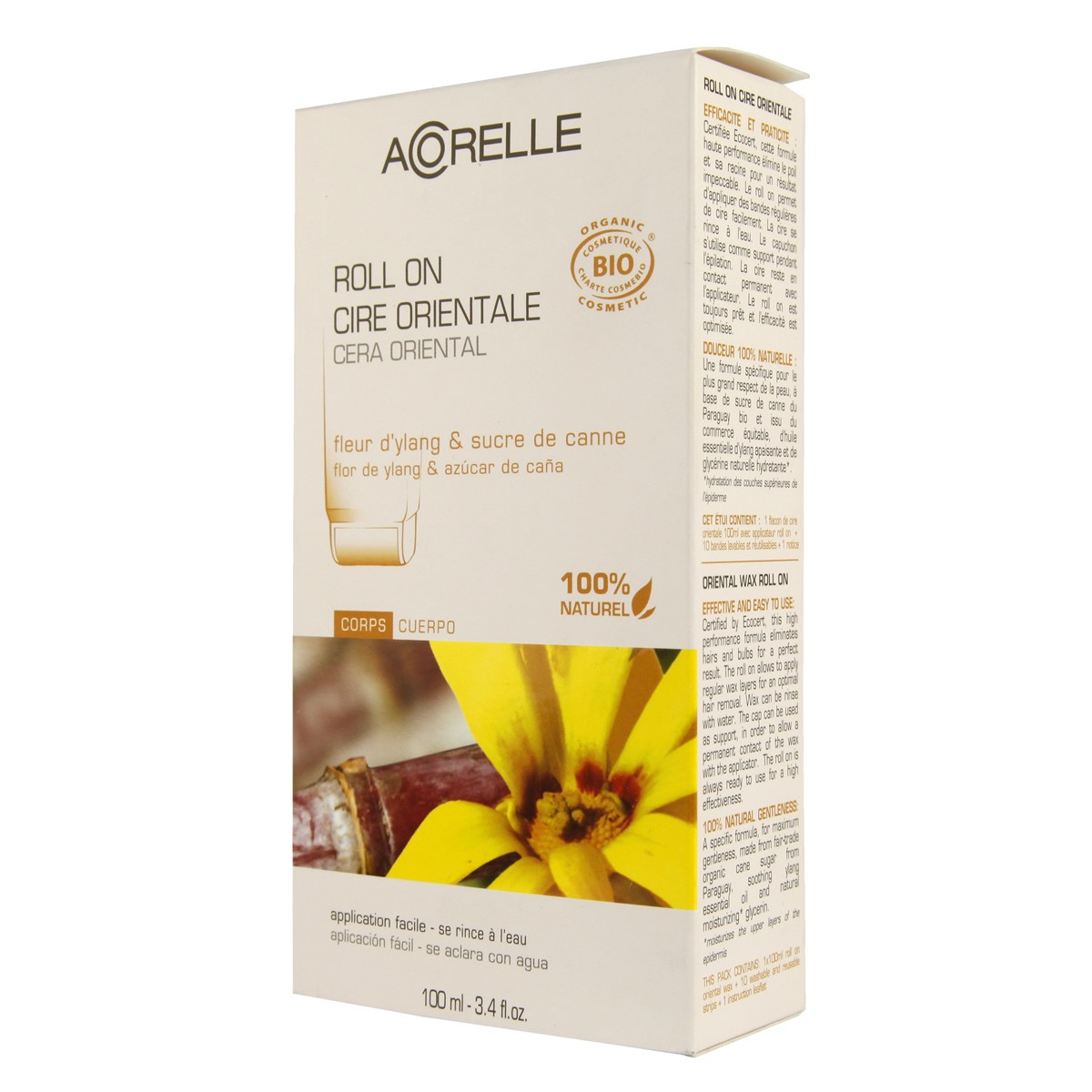 Acorelle Skin Care Oriental Roll-on Wax with Strips - Ylang Flower & Cane Sugar