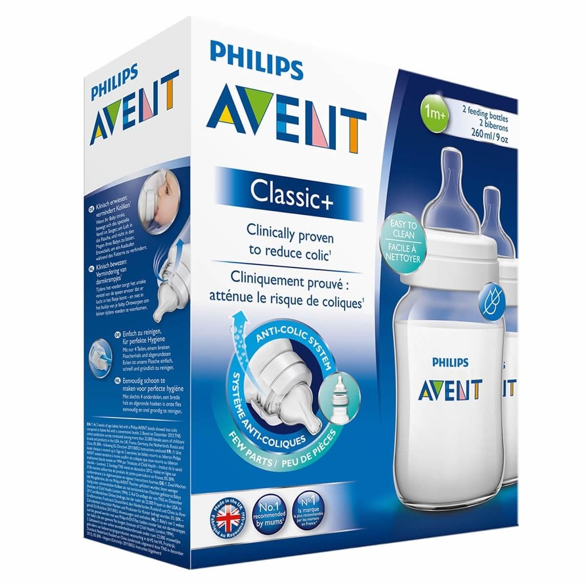 Avent Classic+ Feeding Bottles 1m+ (2 Pack)