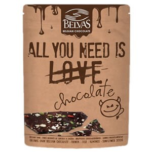 "Belvas ""All You Need Is Chocolate"" Organic Dark Belgian Chocolate"