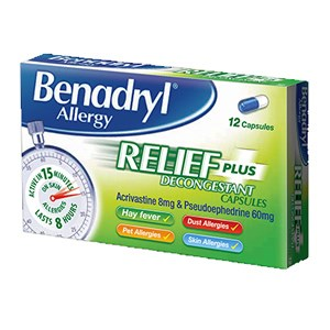 Benadryl Allergy Relief Plus Capsules
