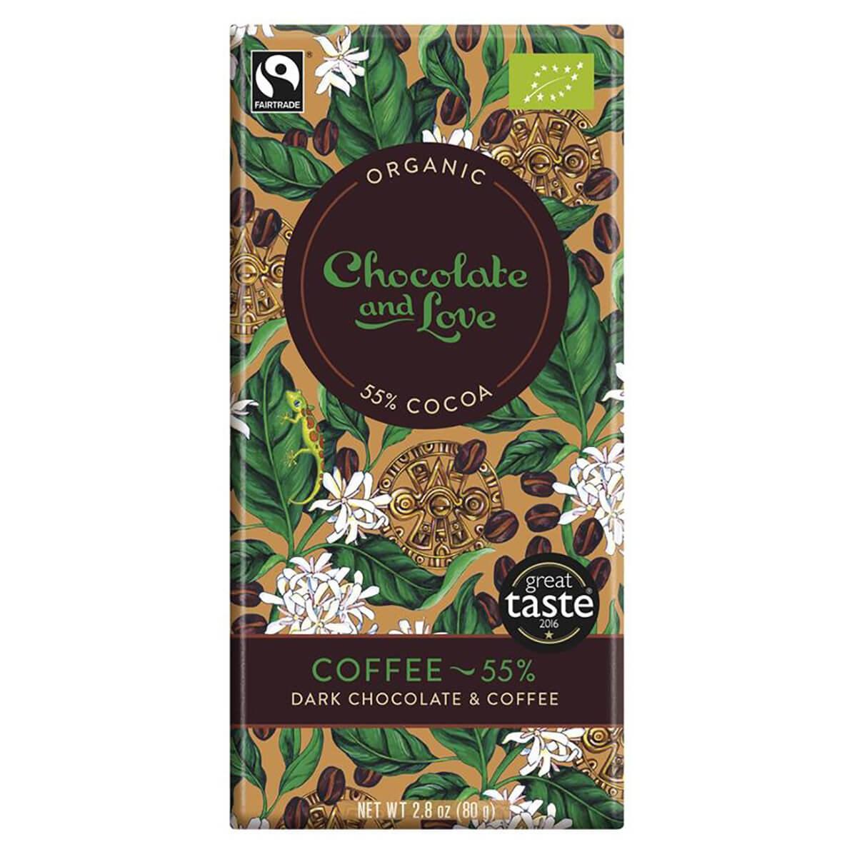 Chocolate and Love Organic & Fairtrade 55% Dark Chocolate with Coffee