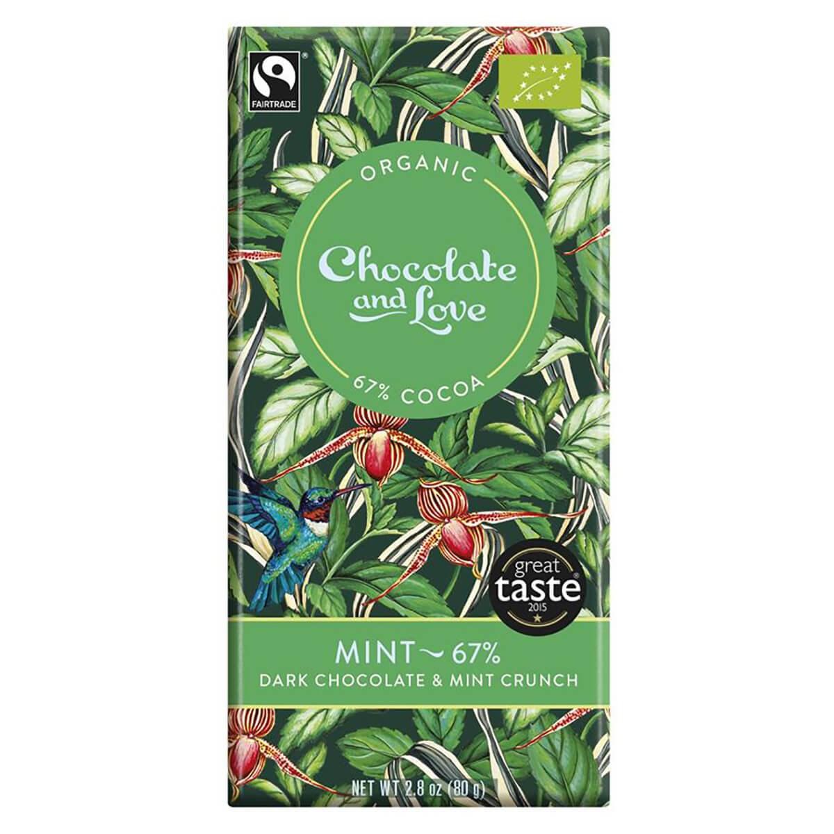 Chocolate and Love Organic & Fairtrade 67% Dark Chocolate with Mint Crunch