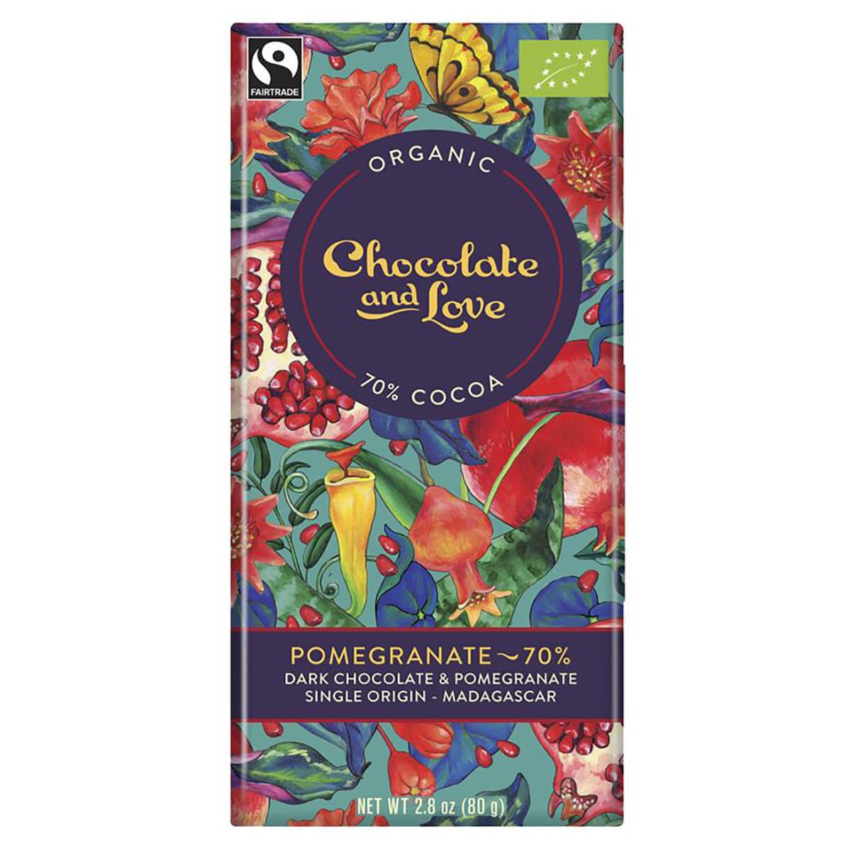 Chocolate and Love Organic & Fairtrade 70% Dark Chocolate with Pomegranate