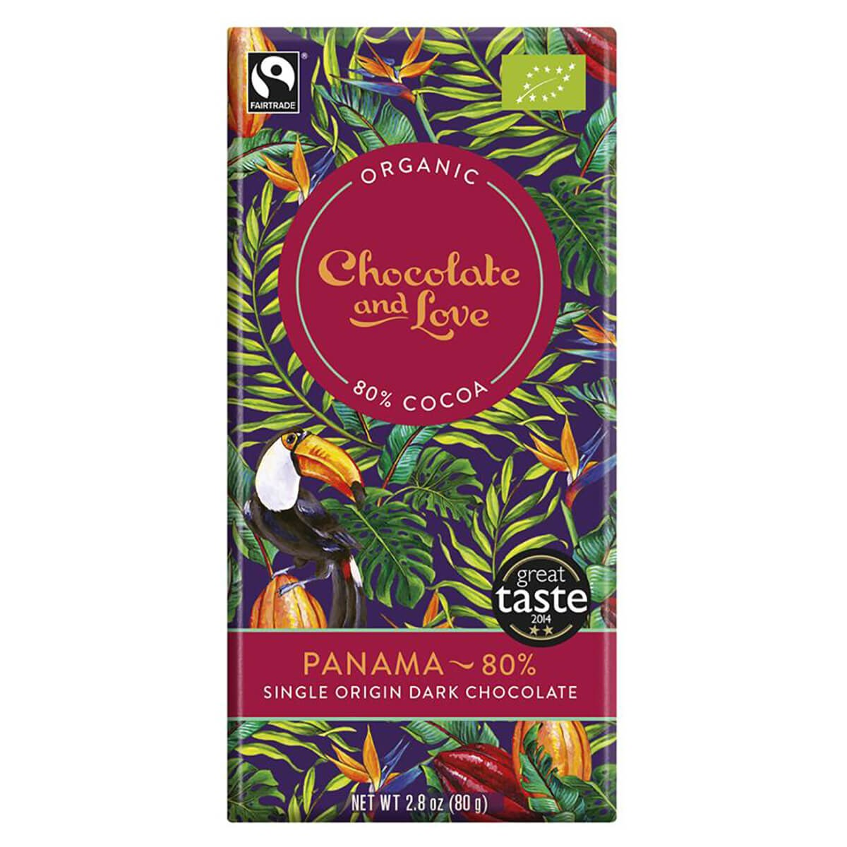 Chocolate and Love Organic & Fairtrade 80% Extra Dark Panama Chocolate