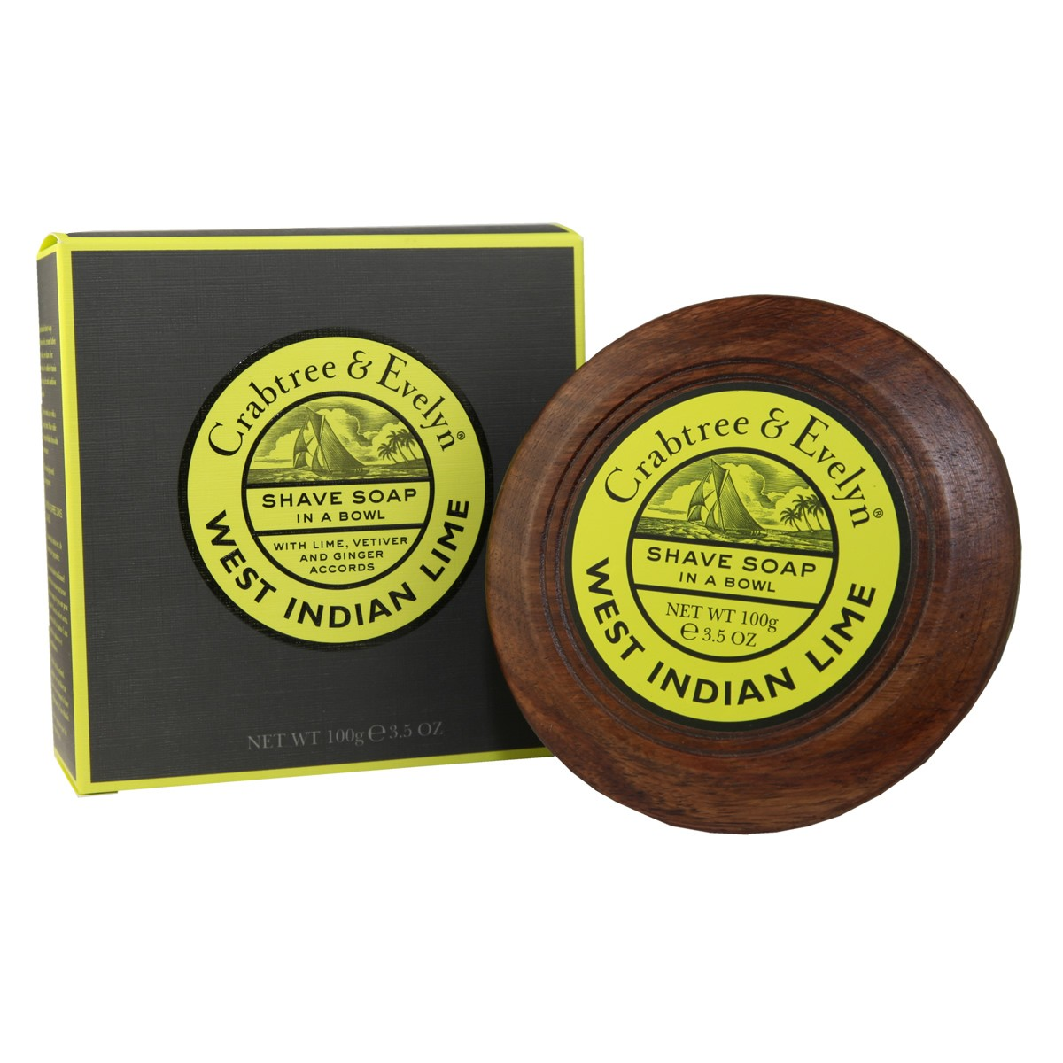Crabtree & Evelyn West Indian Lime Shave Soap In A Bowl