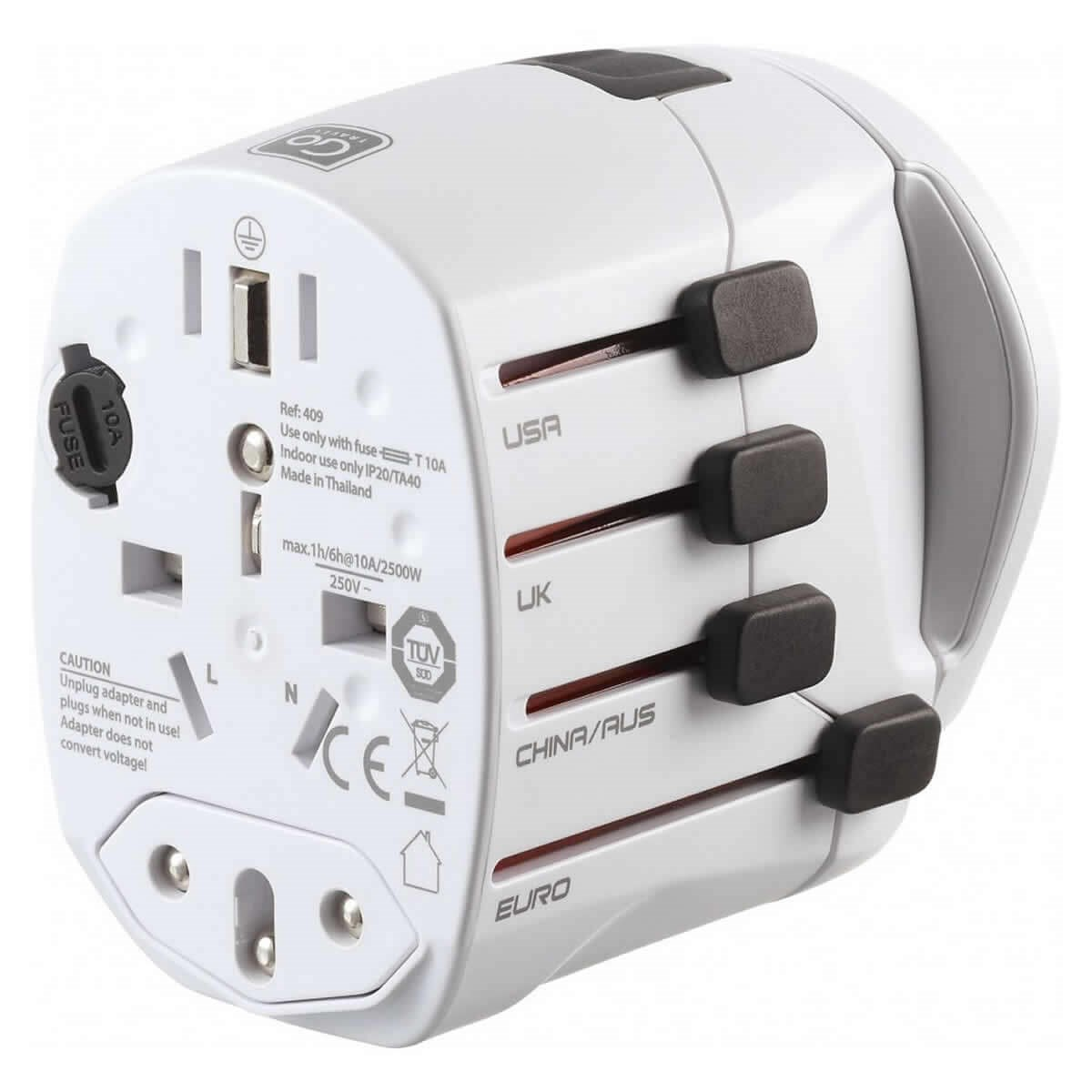 Go Travel Worldwide Earthed Adaptor
