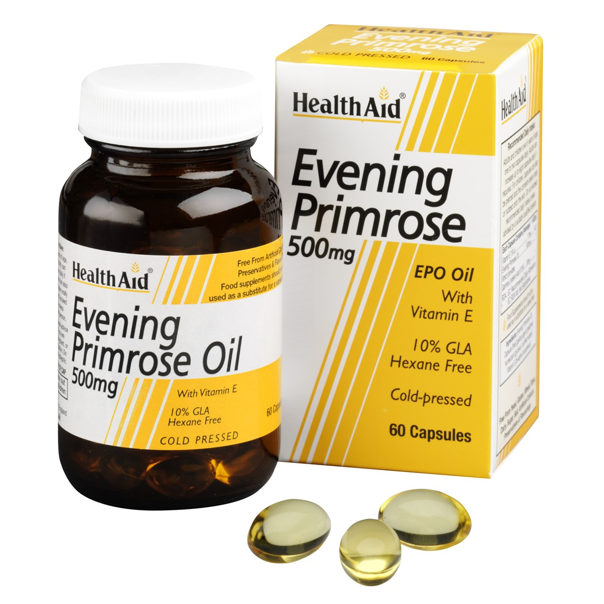 HealthAid Evening Primrose Oil 500mg + Vitamin E Capsules