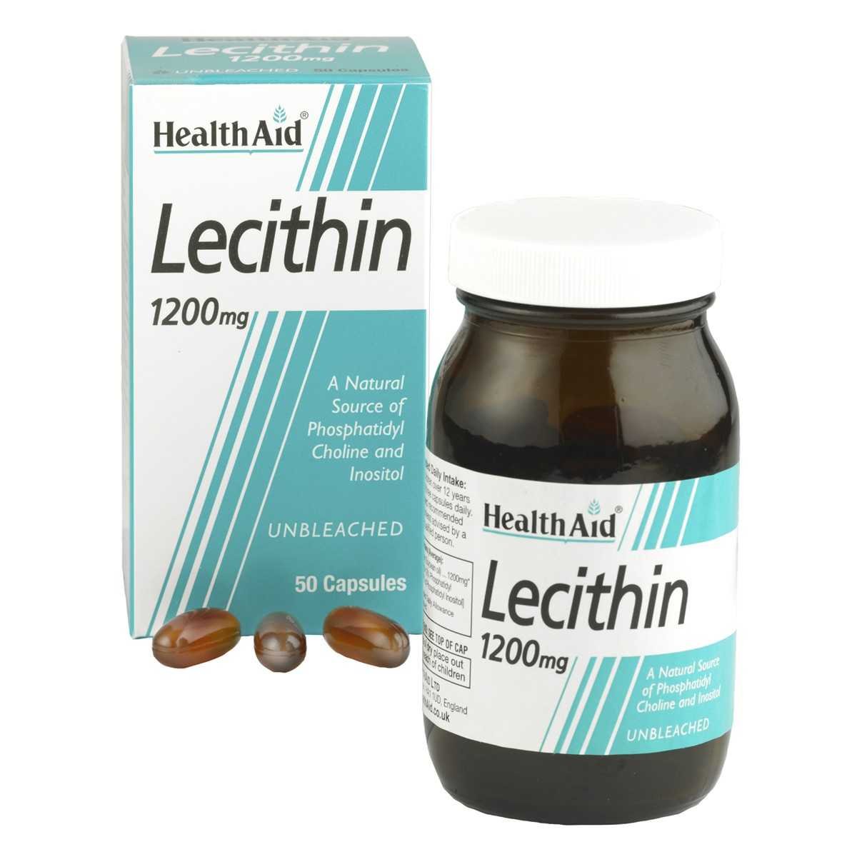 HealthAid Lecithin 1200mg (unbleached) Capsules