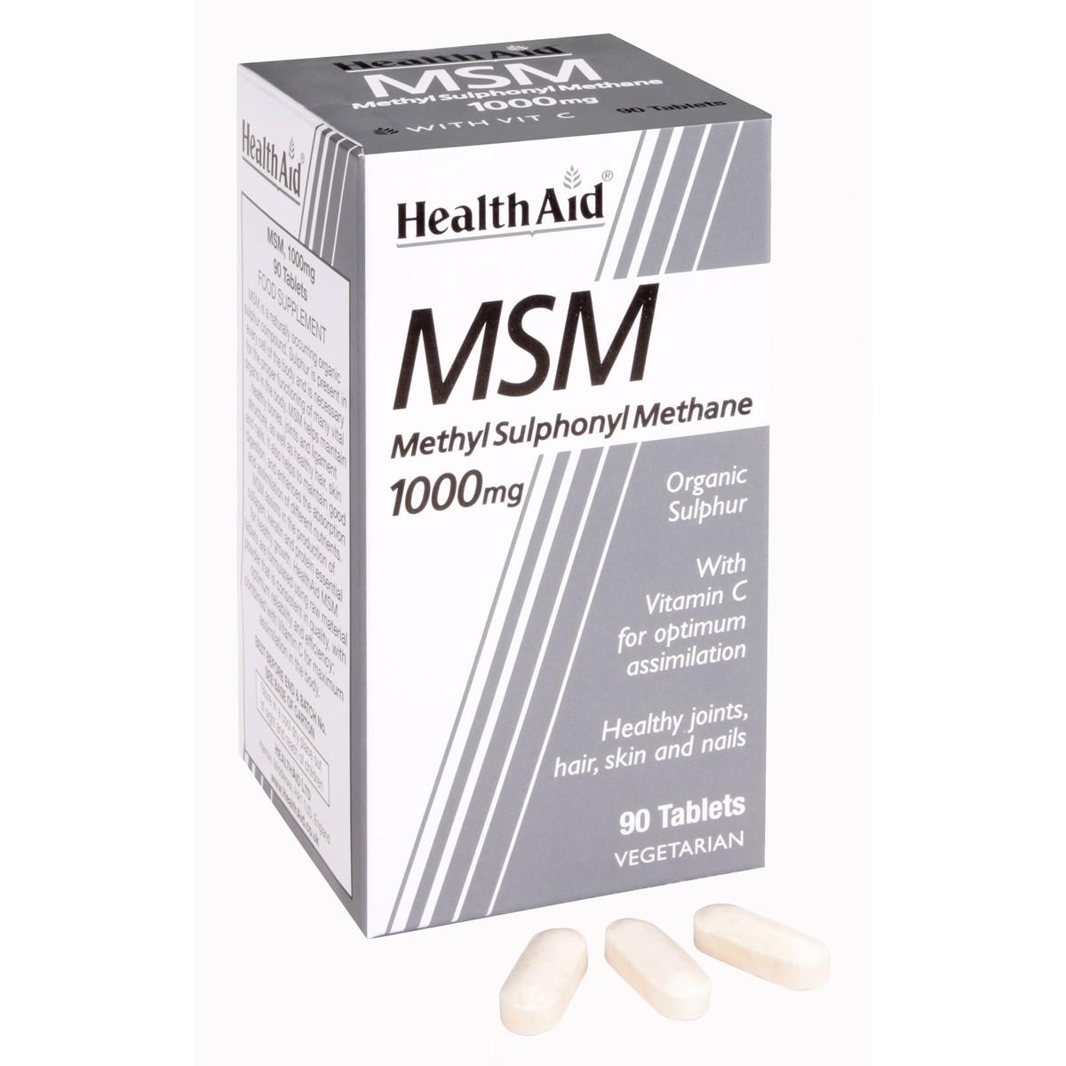 HealthAid MSM 1000mg (MethylSulphonylMethane)