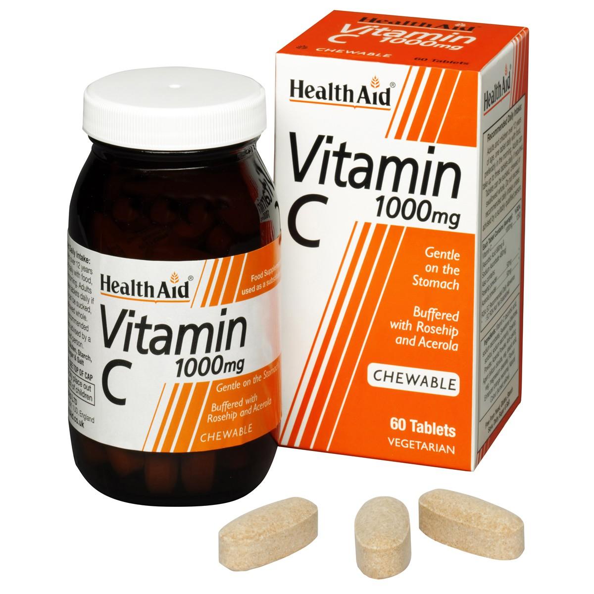 HealthAid Vitamin C 1000mg - Chewable (Orange Flavour)