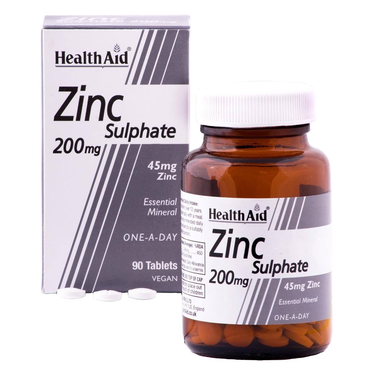 HealthAid Zinc Sulphate 200mg (45mg elemental Zinc)
