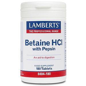 Lamberts Betaine HCl 324mg/Pepsin 5mg