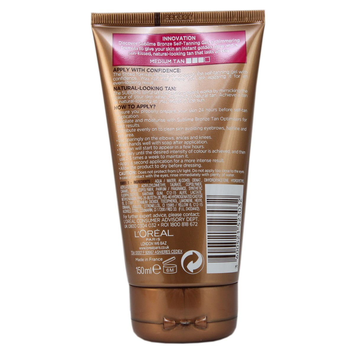 L'Oreal Paris Sublime Bronze Self-Tanning Tinted & Shimmering Gel for Body - Medium Skin