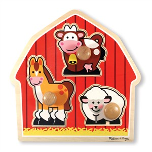 Image of Melissa & Doug Barnyard Animals Large Peg Puzzle