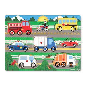 Melissa & Doug Wooden Peg Puzzle - Vehicles