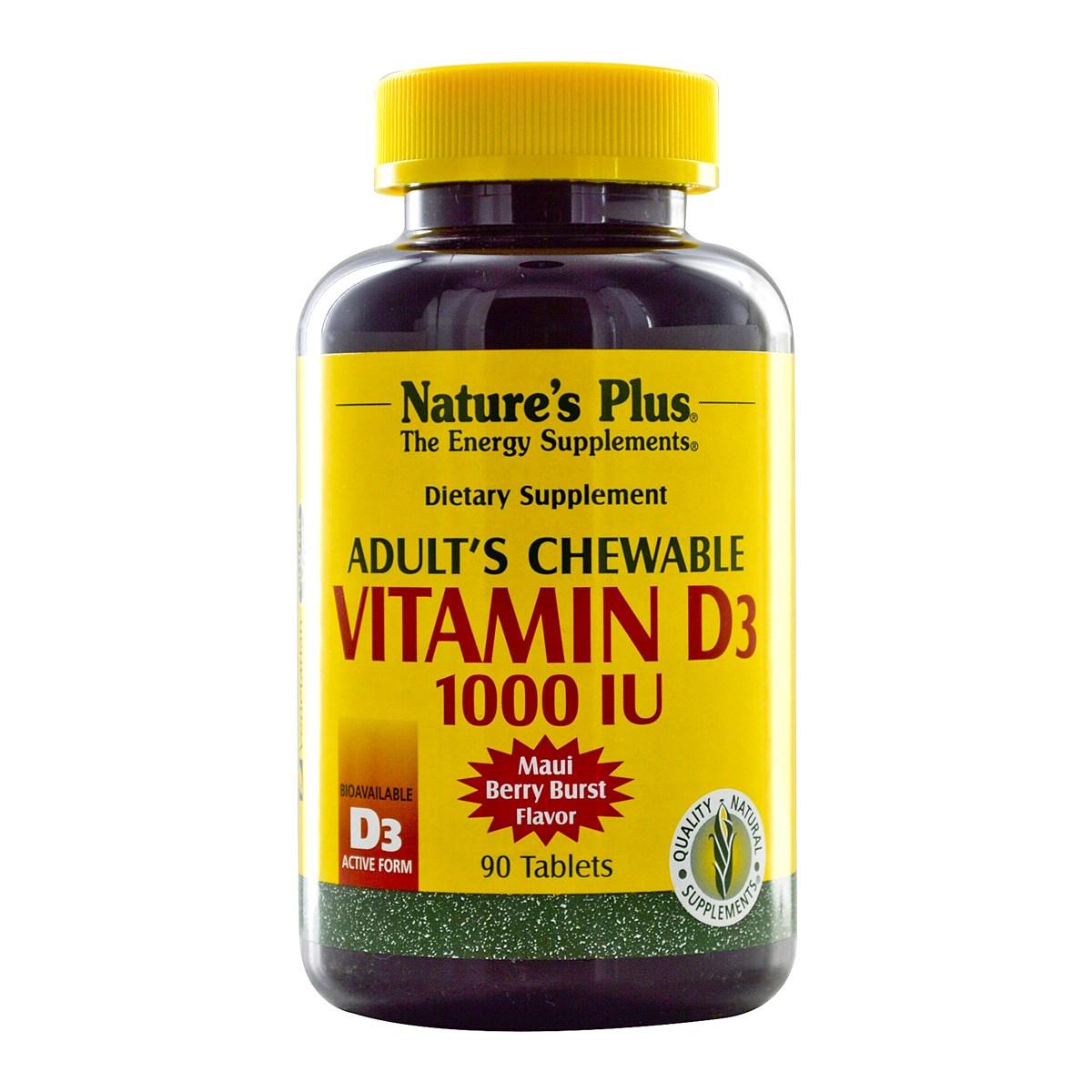 Natures Plus Adult's Chewable Vitamin D3 1000 IU - Maui Berry Burst Flavor
