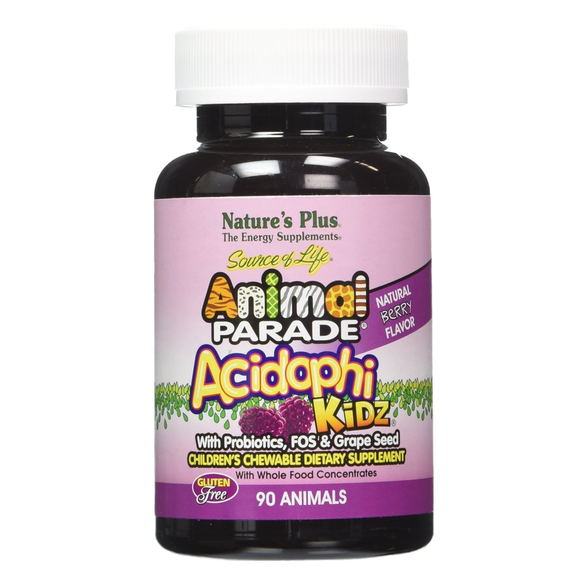 Natures Plus Animal Parade AcidophiKidz Children's Chewable with Probiotics and FOS