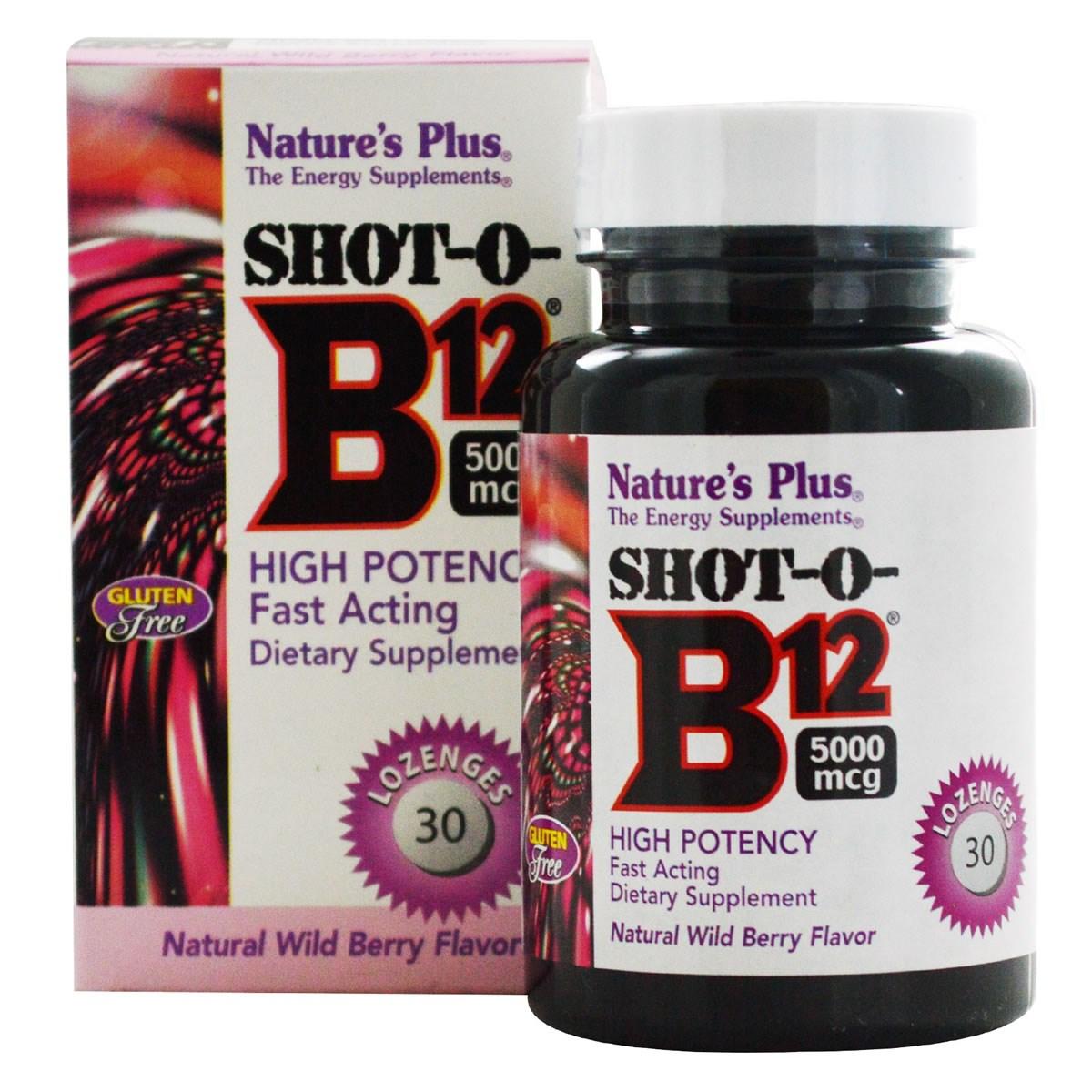 Natures Plus Shot-O-B12 5000 mcg Lozenges - Natural Wild Berry Flavour