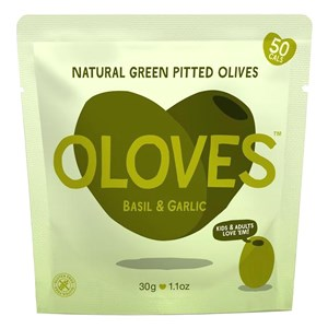 Oloves Basil & Garlic Natural Green Pitted Olives