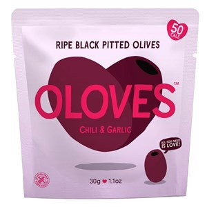 Oloves Chilli & Garlic Ripe Black Pitted Olives
